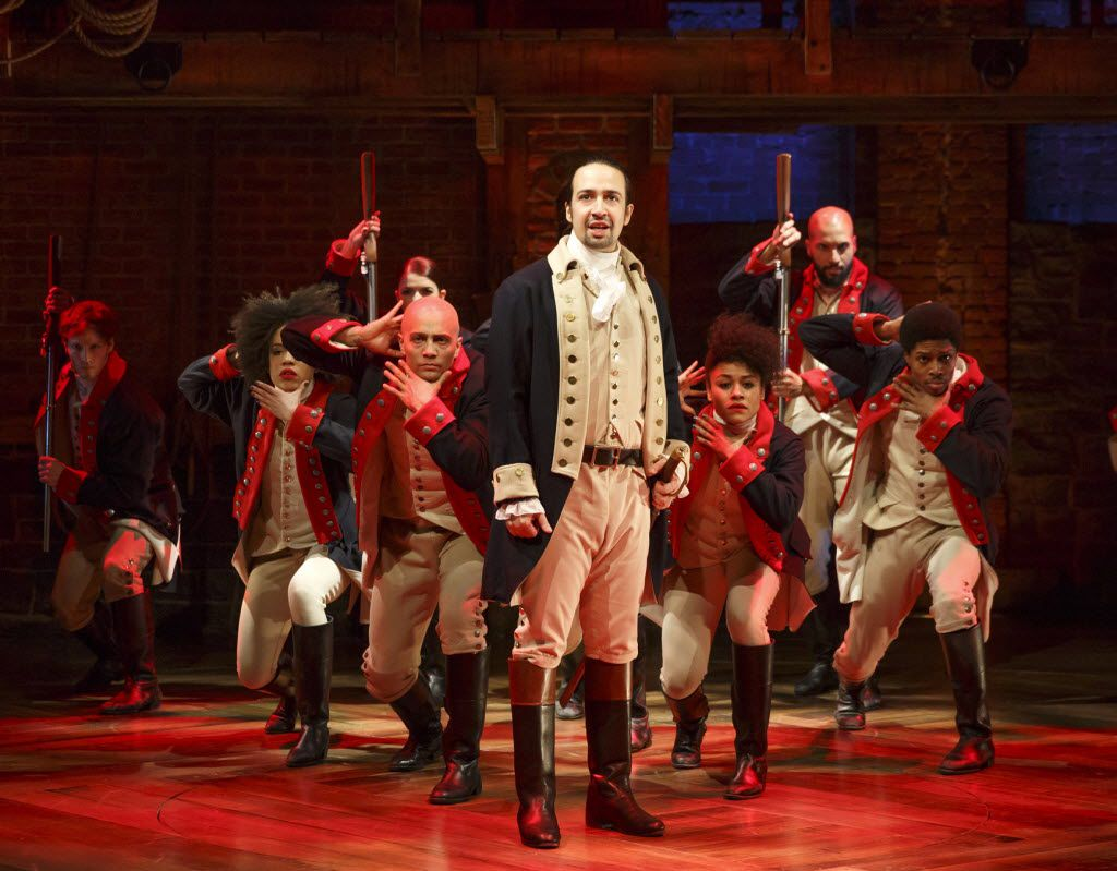 This image released by The Public Theater shows Lin-Manuel Miranda with the cast during a performance of Hamilton in New York. (Joan Marcus/The Public Theater)
