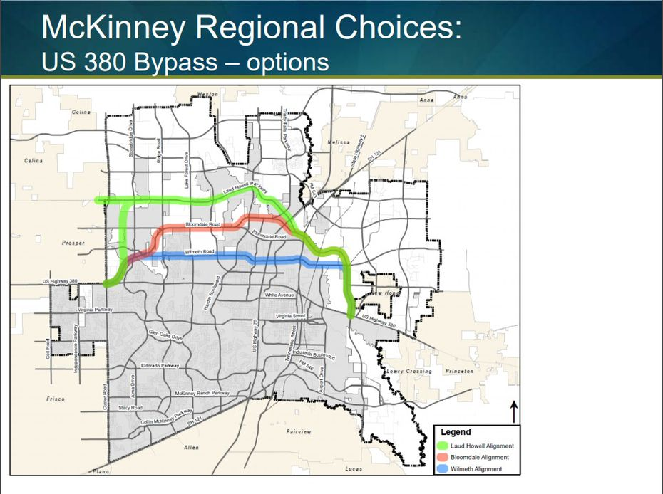 This map is taken from a slide in a city of McKinney presentation in February of possible Highway 380 bypass alignments.