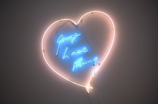"""""""George Loves Kenny"""" is a neon work by British contemporary artist Tracey Emin for Dallas art collector Kenny Goss and his partner, pop-star George Michael"""