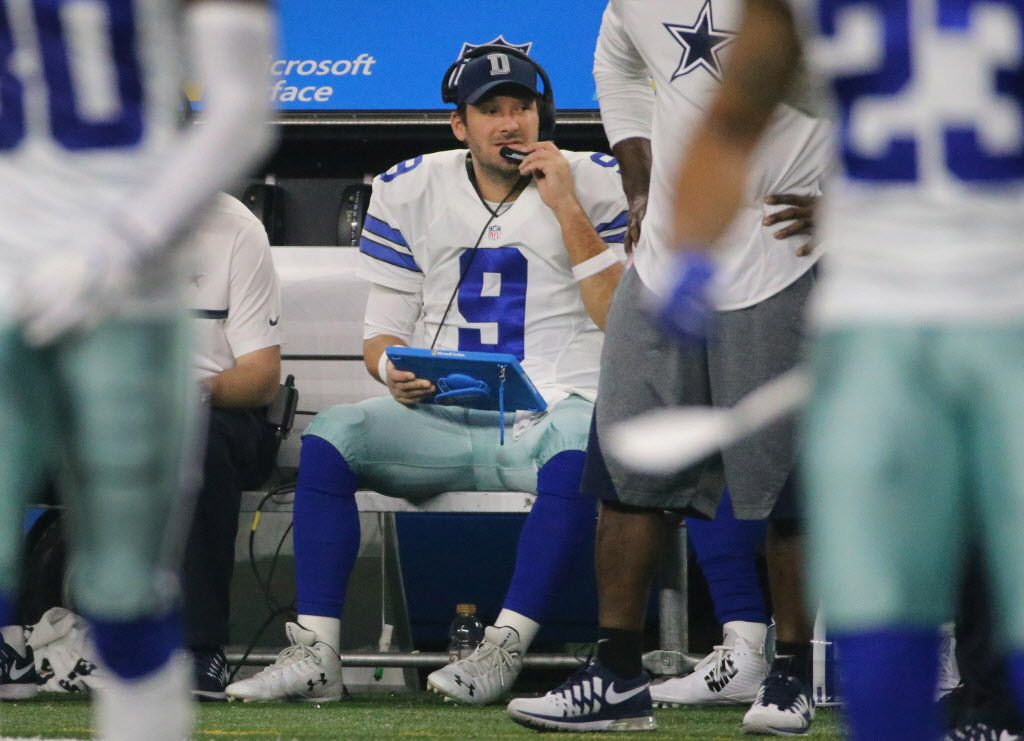Dallas Cowboys quarterback Tony Romo (9) is pictured on the bench during the Tampa Bay Buccaneers vs. the Dallas Cowboys NFL football game at AT&T Stadium in Arlington, Texas on Sunday, December 18, 2016. (Louis DeLuca/The Dallas Morning News)