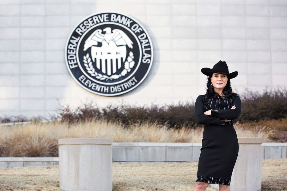 Danielle DiMartino Booth had to make sure she didn't step on the property of the Federal Reserve Bank of Dallas to have this publicity photo taken.(Howie Le)