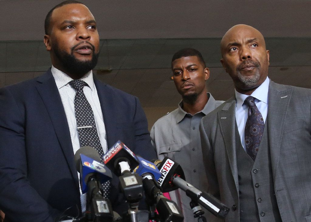 (from left) Attorney Lee Merritt, Jordan Edwards' father Odell Edwards, and attorney Daryl Washington, left to right, are pictured at a May 11 press conference held by the attorneys of the parents of Jordan Edwards.