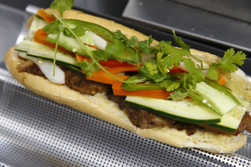 Banh mi sandwiches are the thing at Sandwich Hag in Dallas. Here's the lemongrass chicken banh mi sandwich.