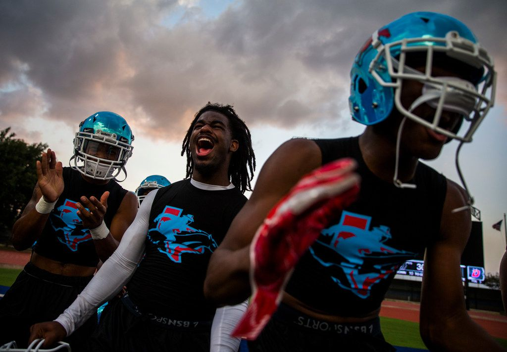 Skyline football players get hyped up before a high school football game between Skyline and Duncanville on Friday, October 4, 2019 at Panther Stadium in Duncanville. (Ashley Landis/The Dallas Morning News)