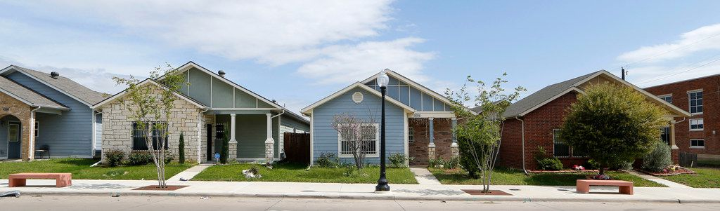 Houses on the 4700 block of Spring Avenue were  built by Community Housing Development Organizations in Dallas.