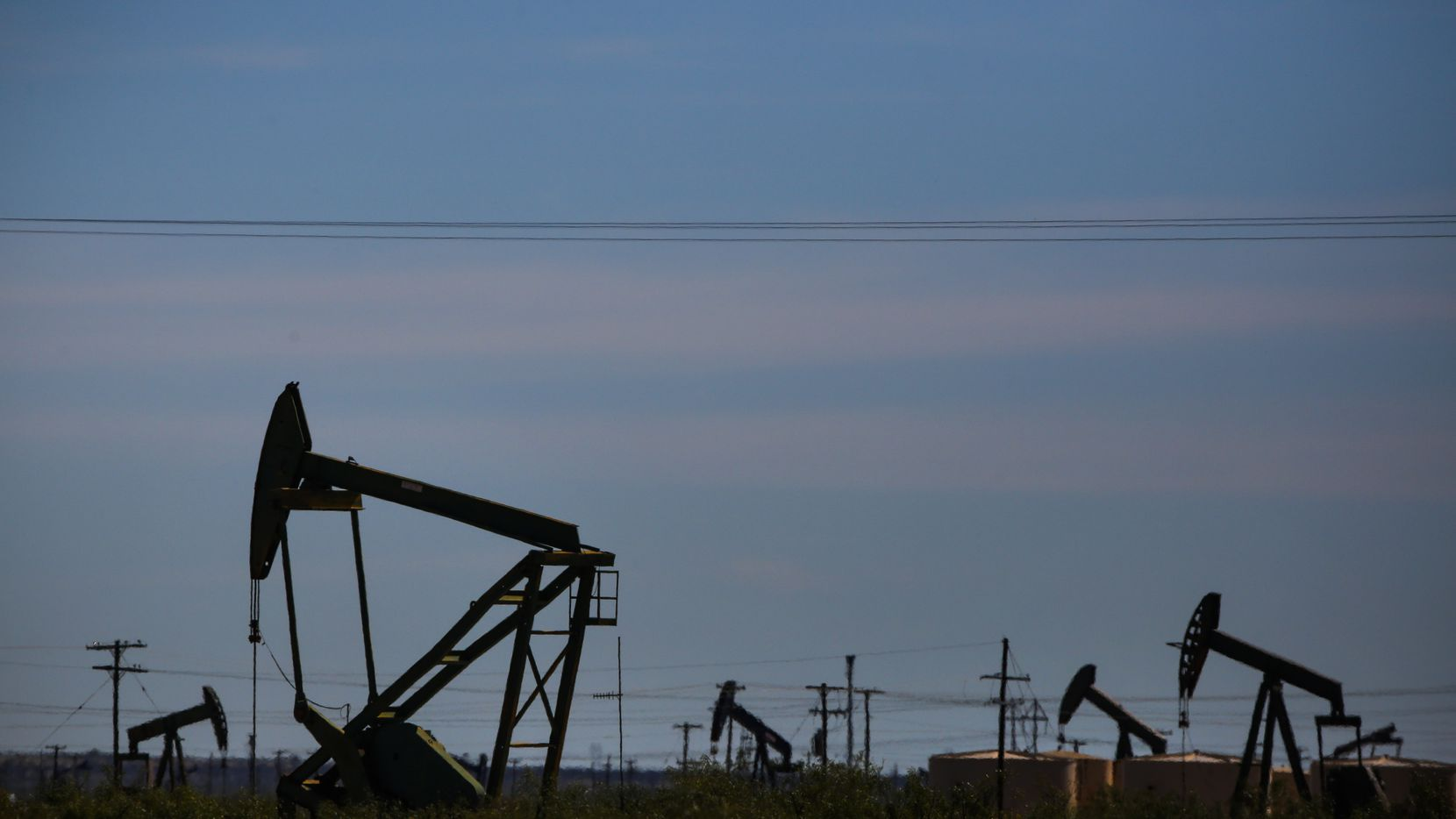 Oil pumpjacks line the horizon just west of Penwell, Texas in the Permian basin on Nov. 2, 2018. (Ryan Michalesko/The Dallas Morning News)