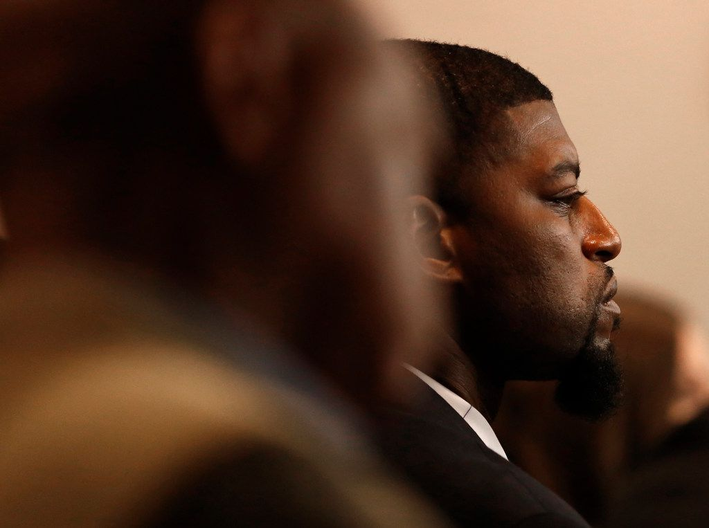 Odell Edwards, father of Jordan Edwards, watched testimony during the first day of the trial of Roy Oliver, who is charged with the murder.