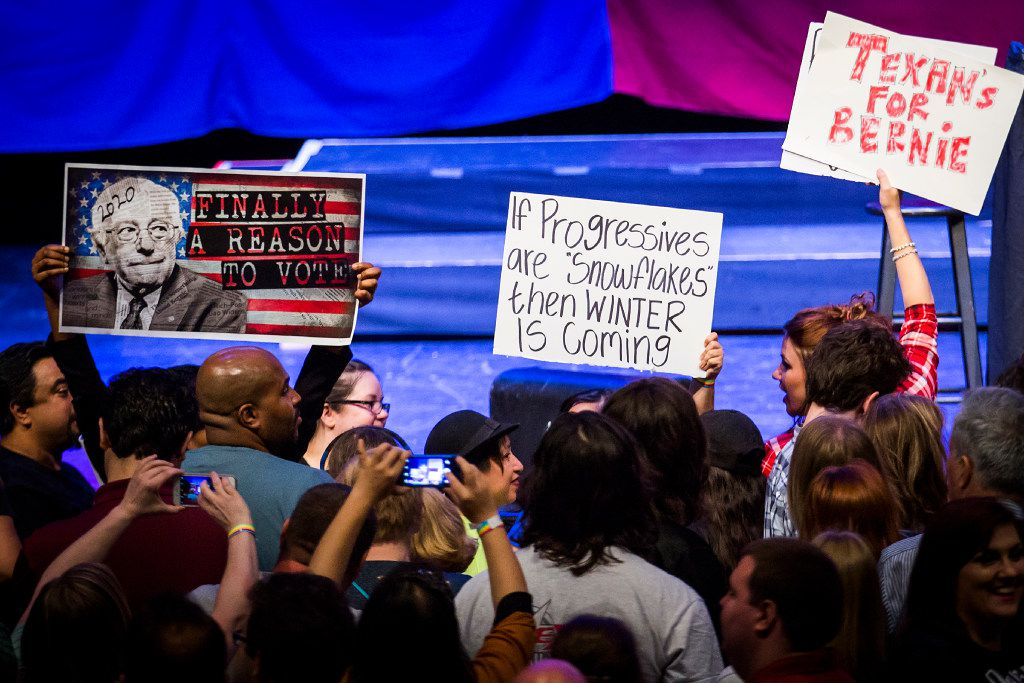 Supporters of Bernie Sanders gathered in April at a rally led by the Vermont senator at the Verizon Theater in Grand Prairie.