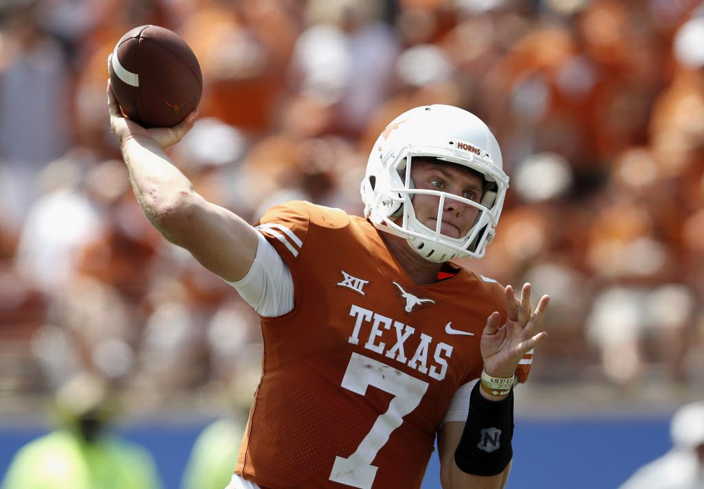 AUSTIN, TX - SEPTEMBER 02:  Shane Buechele #7 of the Texas Longhorns throws a pass in the fourth quarter against the Maryland Terrapins at Darrell K Royal-Texas Memorial Stadium on September 2, 2017 in Austin, Texas.  (Photo by Tim Warner/Getty Images)