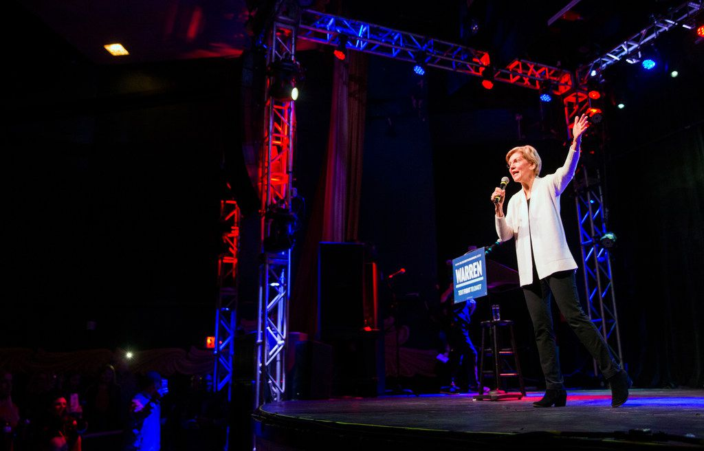Sen. Elizabeth Warren (D-MA), one of several candidates running for the Democratic Party's primary nomination in the 2020 presidential election, waves to the audience while she speaks during a campaign stop at the Granada Theater in Dallas on Sunday, March 10, 2019. After speaking Warren fielded questions from the audience, then took pictures with attendees.