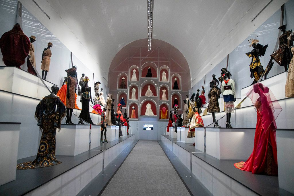 The Dior exhibit at the Dallas Museum of Art surveys more than 70 years of the House of Dior's legacy and global influence. The exhibition features almost 200 haute couture garments as well as accessories and archival material. (Shaban Athuman/Staff Photographer)