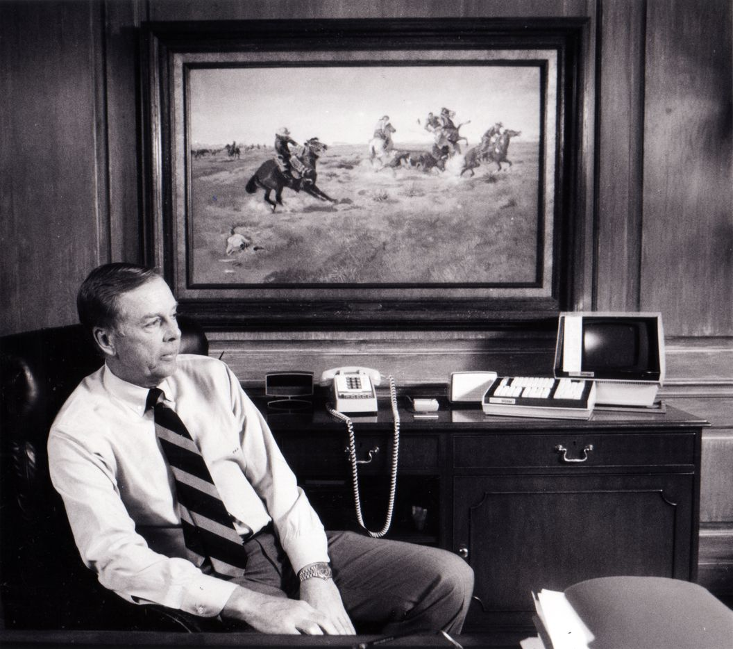 T. Boone Pickens in his Amarillo office in 1984.