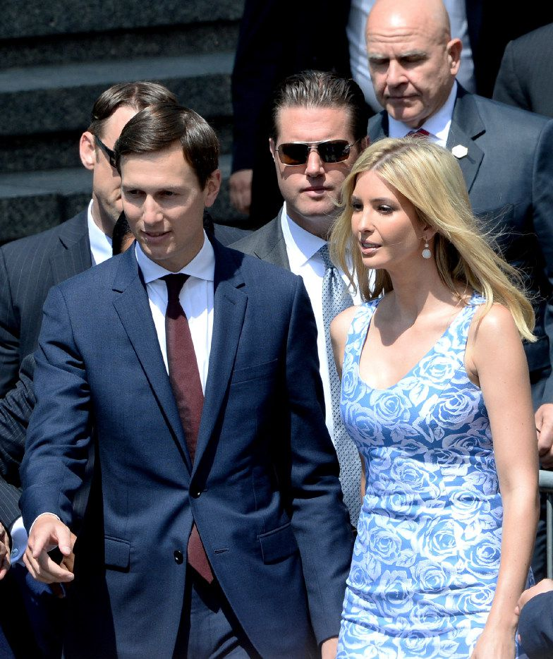Ivanka Trump arrives with her husband Jared Kushner, senior advisor of President Donald Trump, for Donald Trump's speech in Krasinski Square, in Warsaw, Poland.