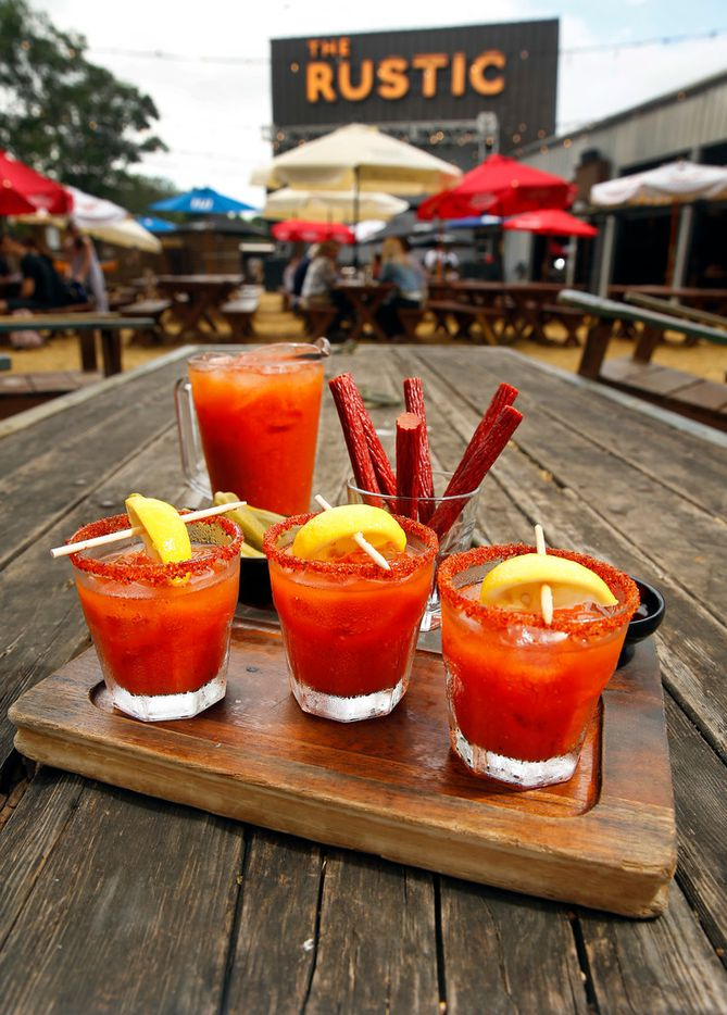The Rustic on Howell St. in Dallas serves house-made Bloody Marys made with house-pickled okra, Texas beef straws, and Peppadew peppers. The drinks are part of the on the Jam 'N Toast brunch menu.