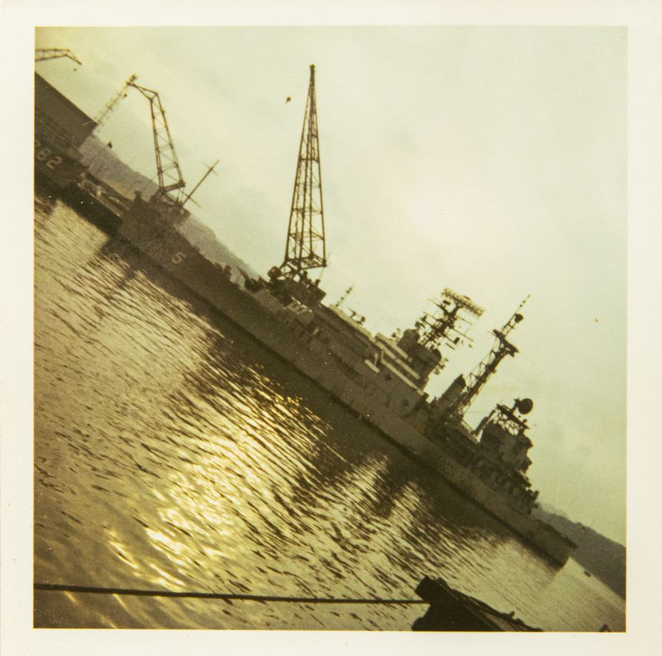 The USS Oklahoma City, the ship to which Eddie Aguilar was assigned, in Yokosuka, Japan, in 1973.