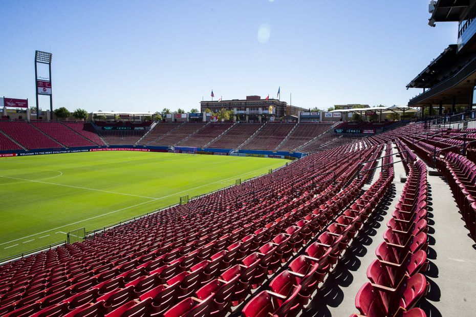 This shows the previous view of the south end of Toyota Stadium with the entrance gates and Frisco Square behind it. Toyota Stadium was built in 2005.