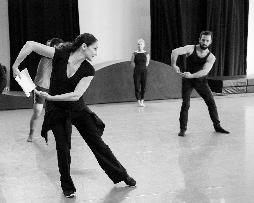 Artistic director Joy Bollinger (left) rehearses her Bruce Wood Dance company.