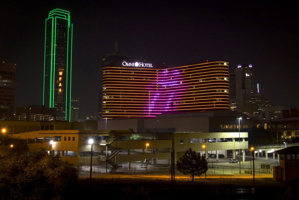 Even though the Rolling Stones were playing in Arlington, they were well represented in Dallas with their logo on the side of the Omni hotel Saturday night.