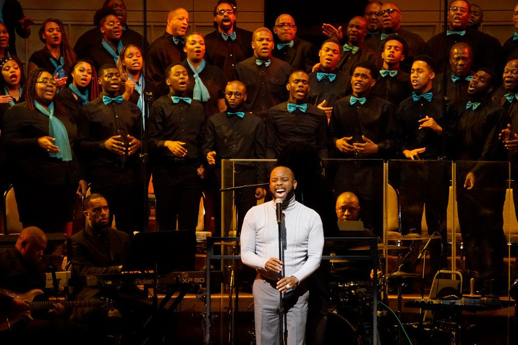 """B-Slade sang with the 200-member choir during the """"Black Music and the Civil Rights Movement Concert"""" at the Morton H. Meyerson Symphony Center in Dallas on Jan. 14."""
