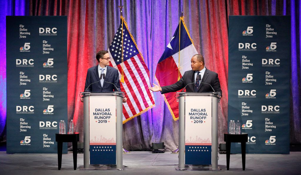 State Rep. Eric Johnson, D-Dallas (right) addresses Dallas City Council member Scott Griggs during their a televised one-hour debate sponsored by The Dallas Morning News, NBC5 and the Dallas Regional Chamber at El Centro College in downtown Dallas, Tuesday, May 14, 2019. (Tom Fox/The Dallas Morning News)