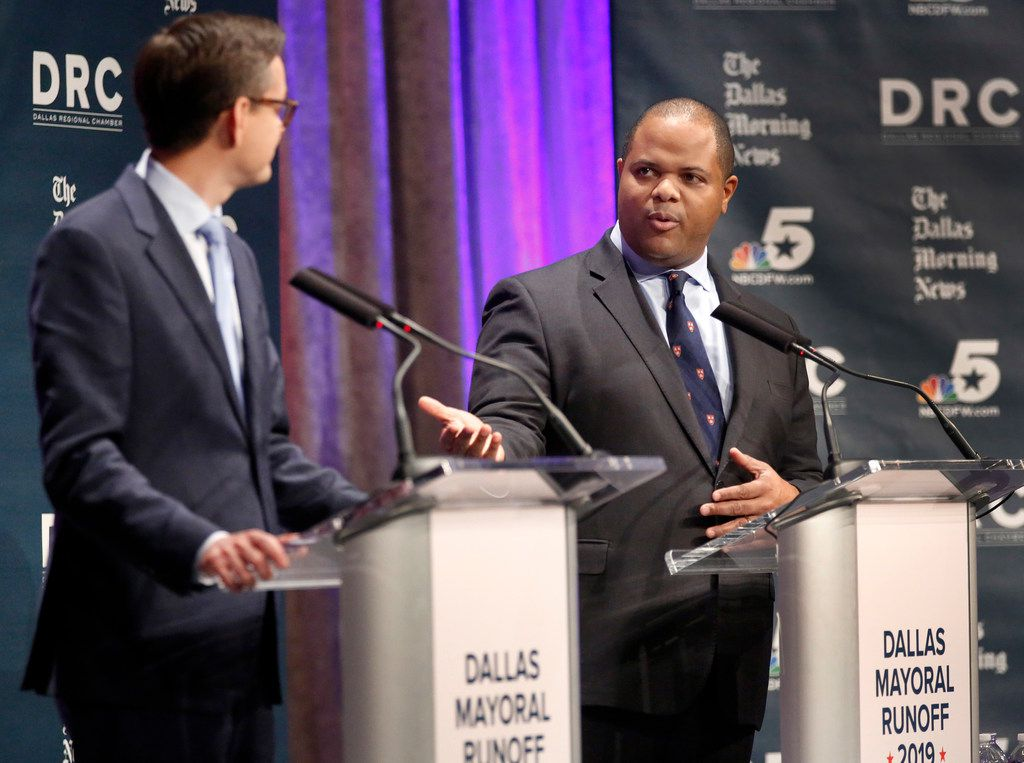 Dallas City Council member Scott Griggs and State Rep. Eric Johnson, D-Dallas, participate in a televised one-hour debate sponsored by The Dallas Morning News, NBC5 and the Dallas Regional Chamber at El Centro College in downtown Dallas, Tuesday, May 14, 2019. (Tom Fox/The Dallas Morning News)