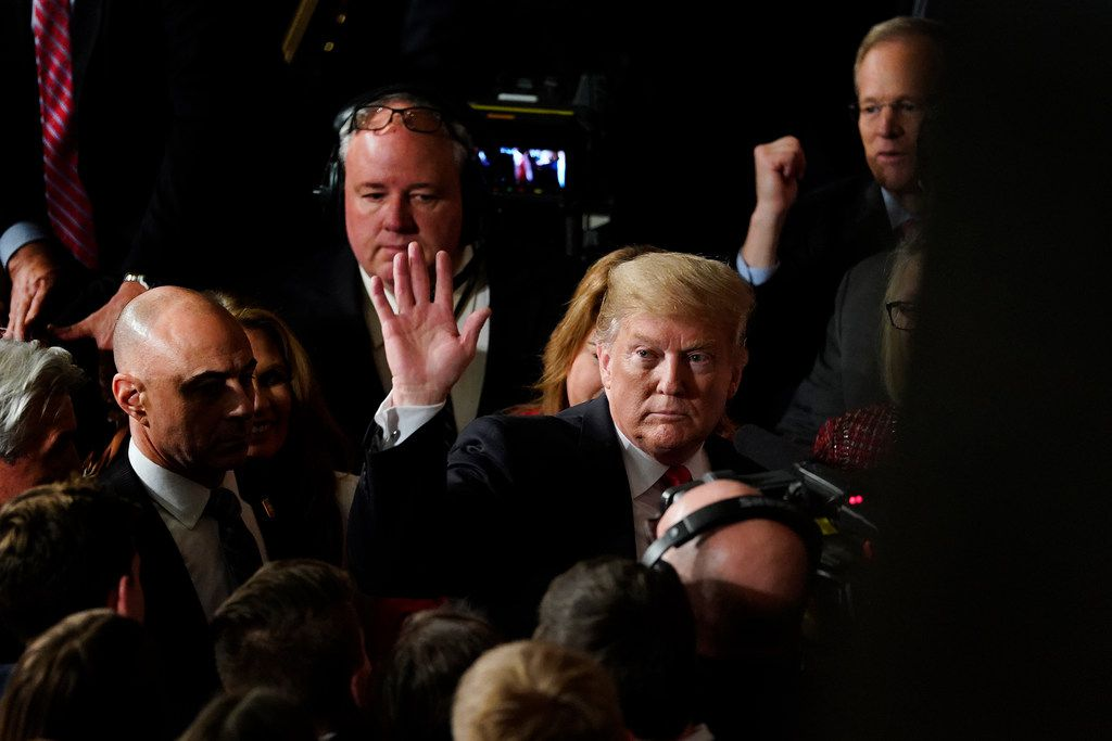 President Donald Trump waves as he leaves after delivering his State of the Union address to a joint session of Congress on Capitol Hill Feb. 5, 2019. (AP Photo/Carolyn Kaster)