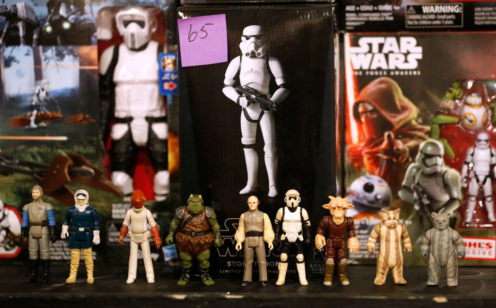 Star Wars collectible figures are on display for sale during North Dallas Toy Show at Dallas Event Center in Farmers Branch, Texas, Saturday, Jan. 6, 2018.