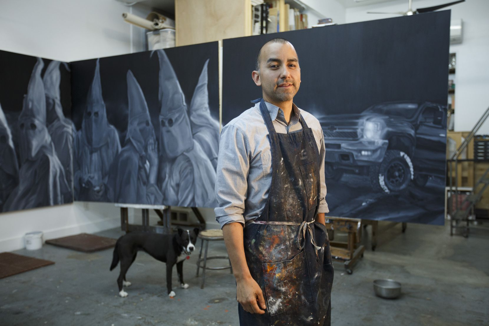 Mexican-American artist Vincent Valdez worked on an eight-panel painting of modern-day KKK gathering.