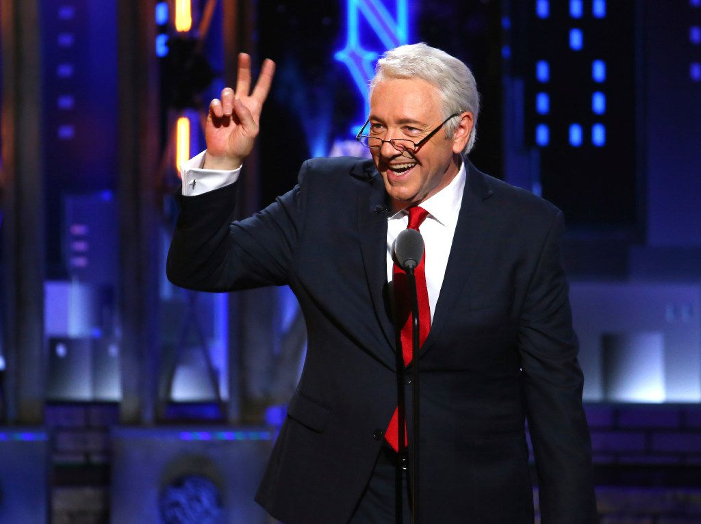 Kevin Spacey impersonates President Bill Clinton at the 71st annual Tony Awards on Sunday, June 11, 2017, in New York. (Photo by Michael Zorn/Invision/AP)