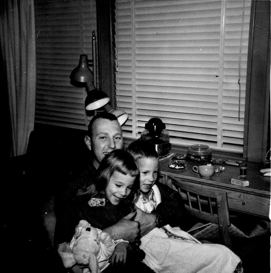 Larry Whitford with daughter Nancy, 5, and son Larry Jr., 6, in February 1963. Whitford's F-100 Super Sabre crashed Nov. 2, 1969, in Laos during the Vietnam War.