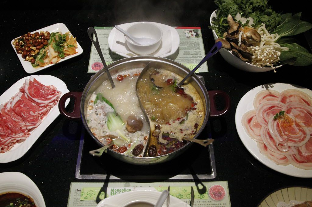 A hot pot spread at Plano's  Little Sheep Mongolian Hot Pot