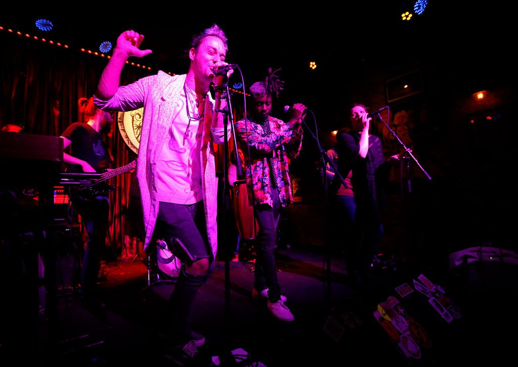 L to R, Stanley Francisko, Cameron McCloud and Ashley Falgout perform onstage with the members of CoLab at Three Links Deep Ellum in Dallas, Tuesday, April 10, 2018. (Jae S. Lee/The Dallas Morning News)