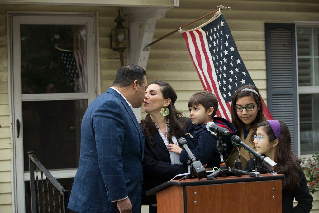 Jason Villalba's wife, Brooke, their son George, 5, and daughters Sophia, 12, and Elena, 9, gathered before his announcement that he'll run for Dallas mayor.