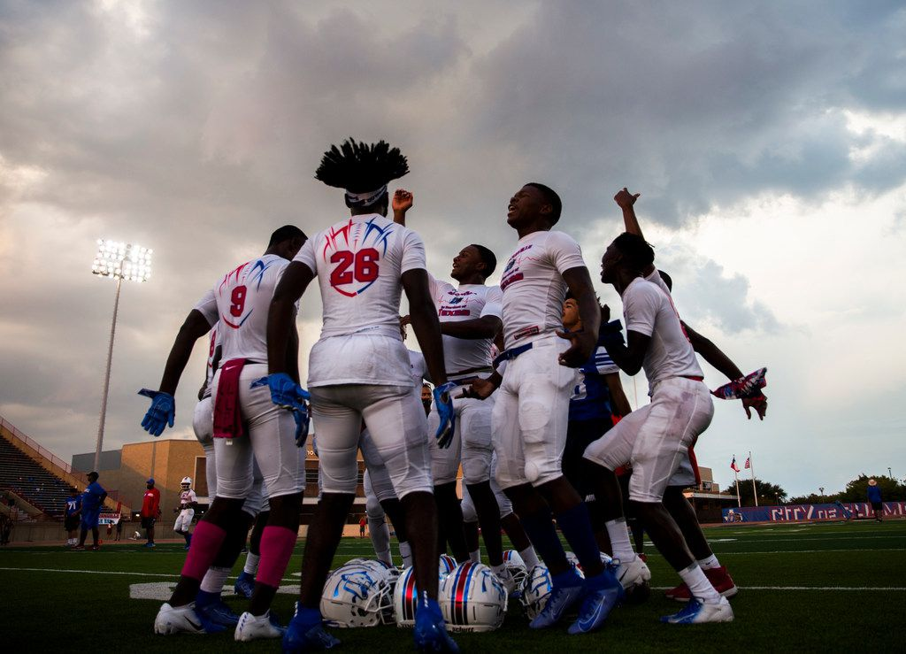 Duncanville football players get hyped up before a high school football game between Skyline and Duncanville on Friday, October 4, 2019 at Panther Stadium in Duncanville. (Ashley Landis/The Dallas Morning News)