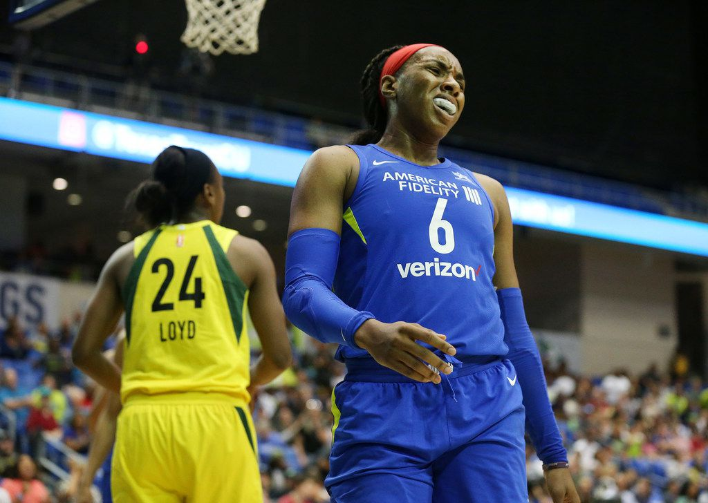 Dallas Wings forward Kayla Thornton (6) reacts after a play in the second half of a WNBA game between the Seattle Storm and Dallas Wings at College Park Center in Arlington, Texas Texas Sunday June 24, 2018. (Andy Jacobsohn/The Dallas Morning News)
