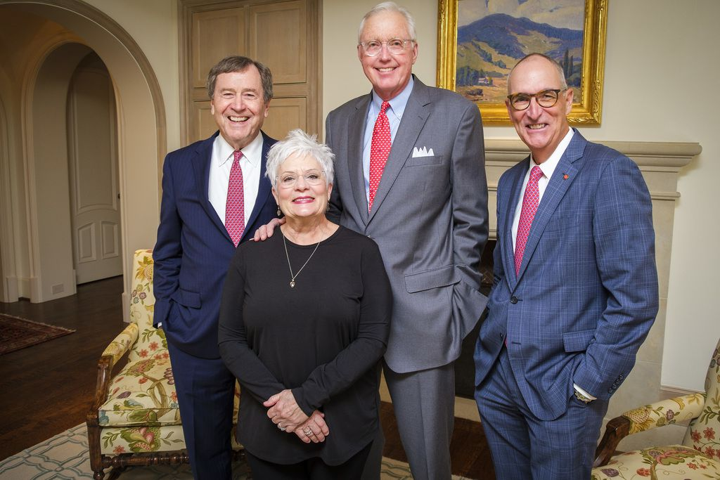 From left: SMU president R. Gerald Turner, Carolyn and David Miller, and Cox School of Business dean Matt Myers are shown on Wednesday. The Millers will announce a $50 million gift to Cox School of Business on Friday.