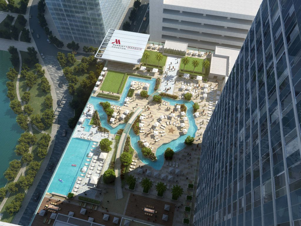 New on Discovery Green in downtown Houston, the 1,000-room Marriott Marquis brings with it a wealth of new retail and restaurant options, as well as a Texas-shaped swimming pool and lazy river for floating.