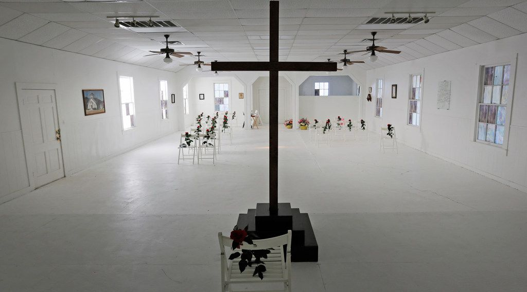 A look at the interior of the Sutherland Springs Baptist Church in Sutherland Springs, Texas, which has been turned into a memorial, photographed on Friday, November 2, 2018. November 5 is the one-year anniversary of the attack there, where 26 people were killed by a lone gunman at a Sunday morning worship service. The chairs are placed for each victim in the exact spot where they were on that fateful day.