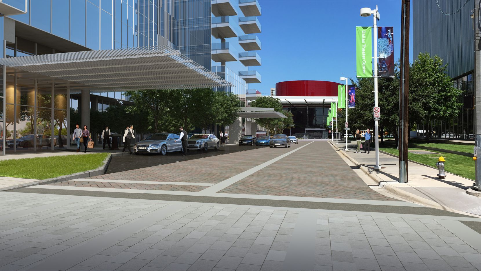 A rendering of the proposed valet parking lanes on Leonard Street in the Arts District.