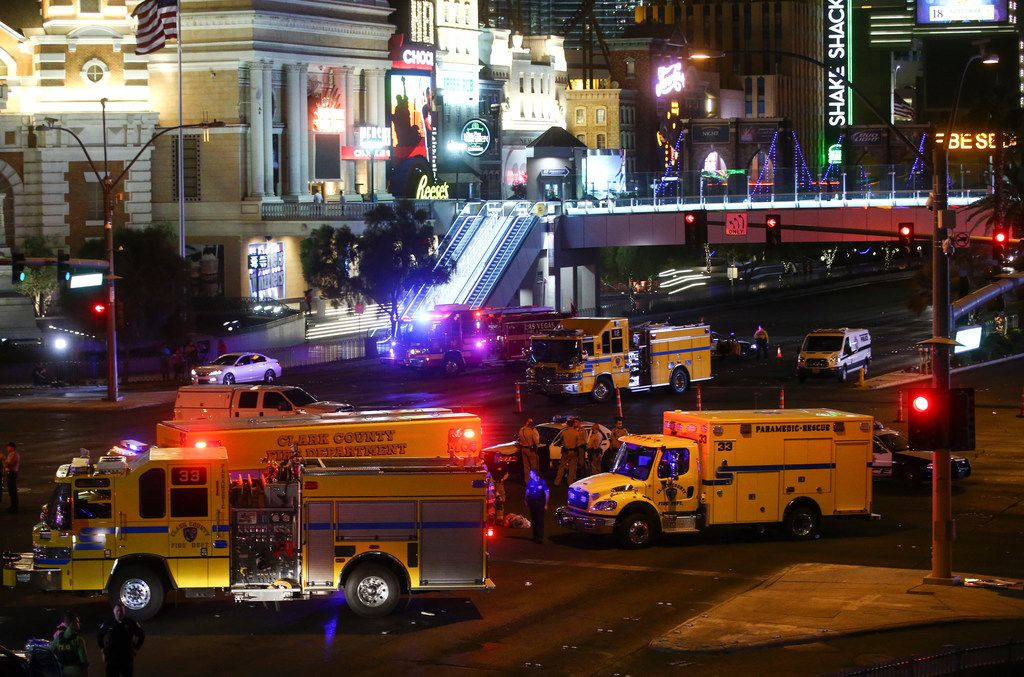 Las Vegas police and emergency vehicles were on the scene of the deadly shooting that happened Sunday night.