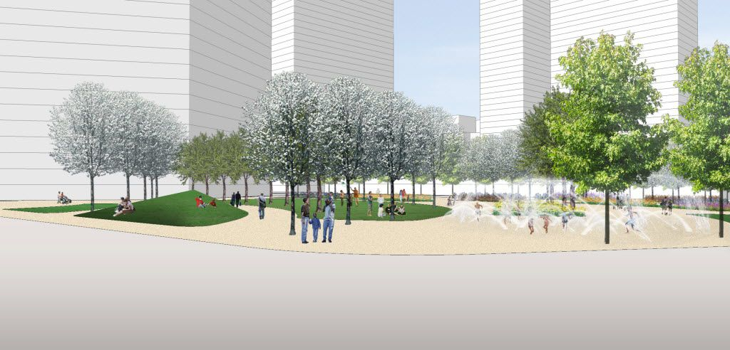 A conceptual rendering of the location for Pacific Plaza. This is the view from St. Paul Street.  The Belo Foundation announced an ambitious plan Thursday, Oct. 29, 2015 to realize a longstanding vision for downtown by creating 17 acres of new green space through the construction of four major parks. The plan calls for $70 million in private and public funding to build the parks within the next 10 years, with the Belo Foundation pledging $30 million toward the effort. The four parks Ã' Harwood Park, Carpenter Park, Pacific Plaza and West End Plaza Ã' were listed as high priorities in the 2013 update of the downtown parks master plan.