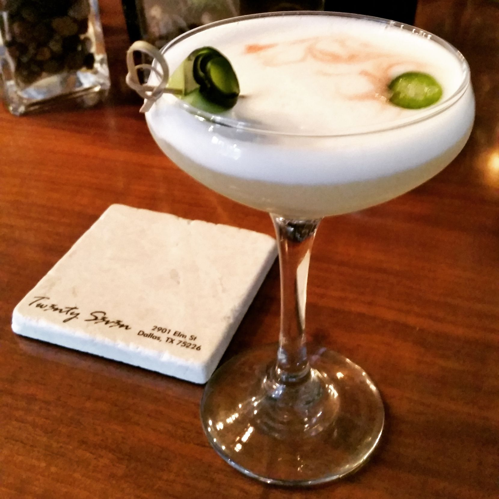 At Twenty Seven, Moses Guidry wasn't just blowing smoke with this easy-drinking play on a Pisco Sour.