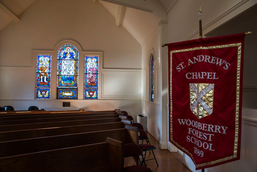 Morning light fills St. Andrew's Chapel at Woodberry Forest School, an all-boys boarding school that Beto O'Rourke attended. Chapel service is a weekly fixture at the school..