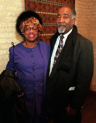 Earlie and Eli Davis pose at the 41st Annual Ebony Fashion Fair held at Fair Park's Music Hall Sunday, March 14, 1999.