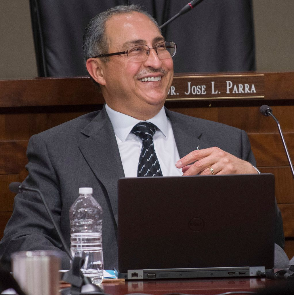 Irving ISD Superintendent Jose Parra sits at a school board work session before the board approved his resignation on Monday.