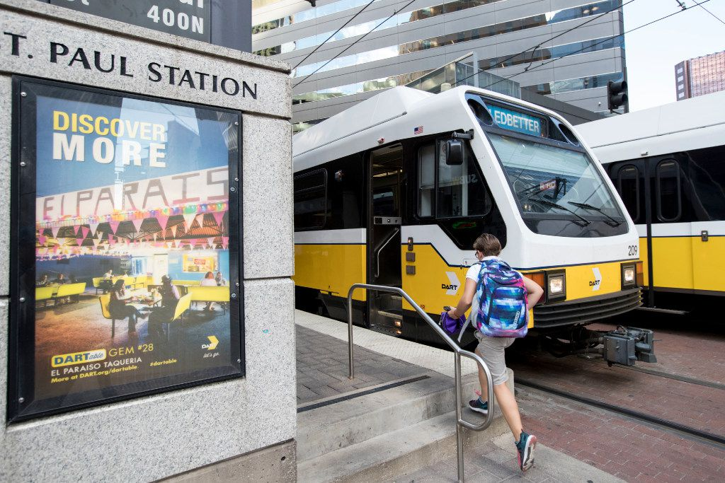 A teen recently rushed to board a DART Blue Line train headed toward Ledbetter at the St. Paul Street station.