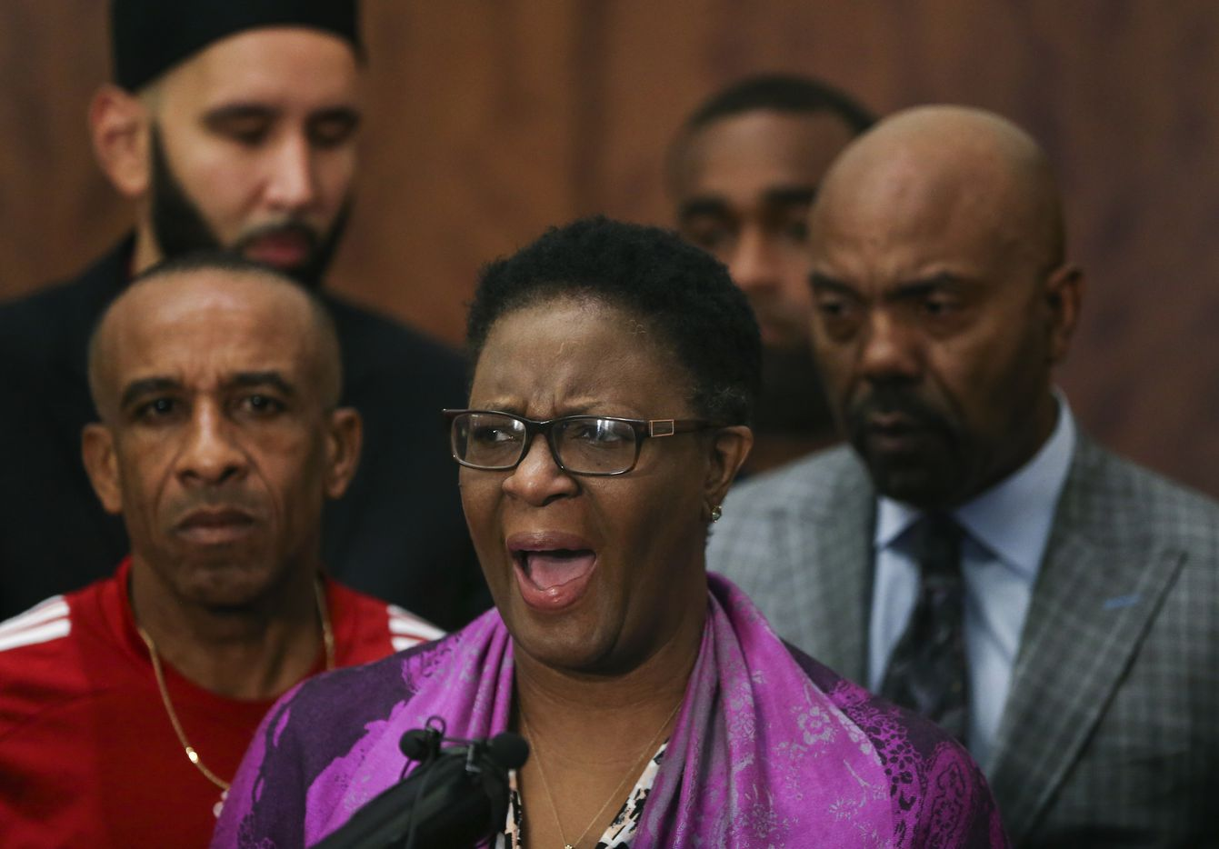 Allison Jean, mother of Botham Shem Jean, speaks during a press conference Friday, Sept. 14, 2018 in Dallas.