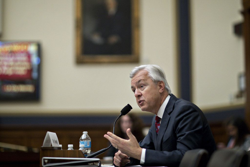 """John Stumpf, chief executive officer of Wells Fargo, told the House Financial Services Committee on Thursday that he feels """"deeply sorry"""" about the bank's actions."""
