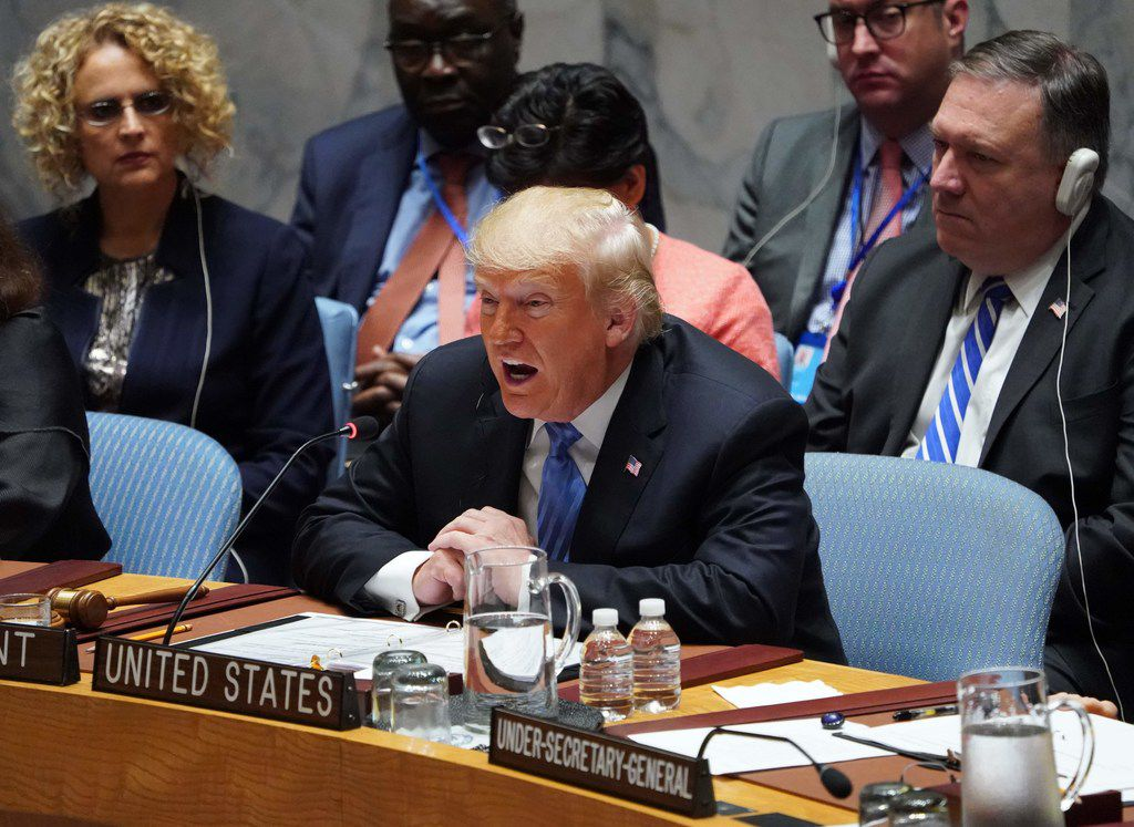 President Donald Trump speaks during this week's U.N. Security Council briefing.