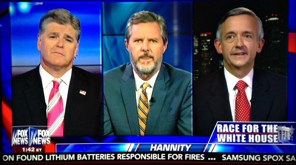 Sean Hannity, Jerry Falwell Jr. and Robert Jeffress were on Fox News Friday night.